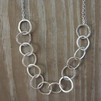 """Medium Long Silver Hoop Necklace, Long Necklace, Hammered Silver Hoops, 20"""""""