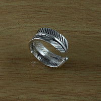 Feather 925 Sterling Silver Adjustable Toe Ring