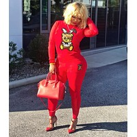 MOSCHINO Women Casual Multicolor Letter Pattern Print Long Sleeve Trousers Set Two-Piece Sportswear