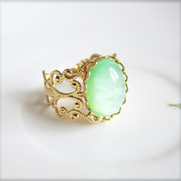Mint Green Cameo Ring Mint Vintage Style Ring Oval Ring Gold Filigree Ring Shabby Chic Victorian Ring - Circe Mint