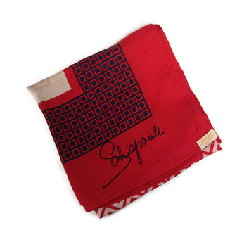 1950s Scarf / Vintage Schiaparelli Silk Hand Rolled Square Scarf, Red and Navy Geometric Pattern