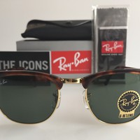 AUTHENTIC RAY-BAN CLUBMASTER RB3016 W0366 51MM TORTOISE FRAME SUNGLASSES