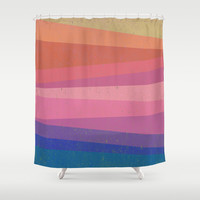 Colorful diagonal Shower Curtain by Tony Vazquez