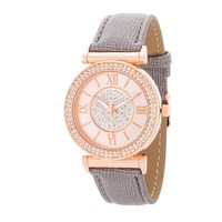 Geneva Crystal Roman Numeral Rose Gold and Grey Watch