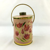 Vintage Pink & Gold Floral Tin with Handle English Biscuit Tin Blooming Coral Flowers Romantic Shabby Decorative Tin Made in England