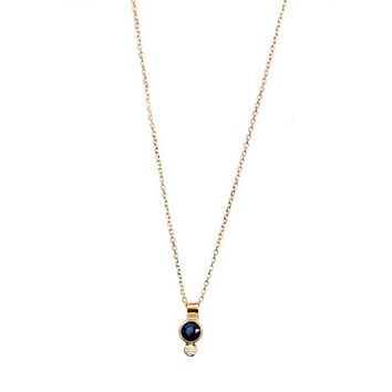 Harpie Drop Necklace 14k Sapphire Diamond