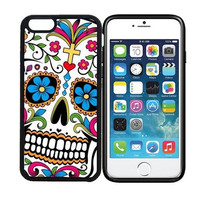 iPhone 6 (4.7 inch display) Designer Black Case - Sugar Skull Dia De Los Muertos