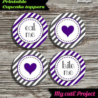 """Eat Me...Bite Me...Heart - Cupcake toppers - Indigo blue & Grey - Instant Download - Party printable - Party favor - Candy Bar - 5 cm / 2"""""""
