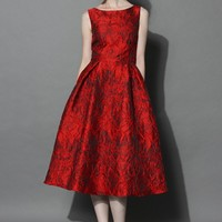 Red Glamour Embossed Prom Dress