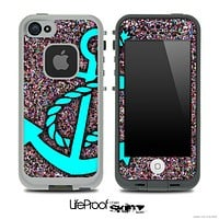 Red-ish Sparkle Print and Turquoise Anchor Skin for the iPhone 5 or 4/4s LifeProof Case