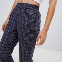 Bershka check turn up trouser in navy at asos.com