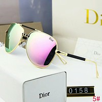 DIOR Popular Women Man Personality Summer Sun Shades Eyeglasses Glasses Sunglasses 5# Pink/Green I-A-SDYJ