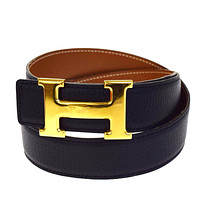 Authentic HERMES Constance H Buckle Belt Leather Gold-tone Black #75 65B1499