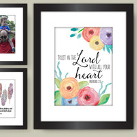 Bible Verse PRINTABLE, Trust in the Lord with all your heart, Proverbs 3:5, Watercolor Ranunculus Flowers Scripture Print