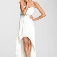 Xscape Embellished Waist Chiffon Gown (Online Exclusive)   Nordstrom
