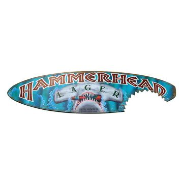 Hammerhead Lager Surfboard Sign with Shark Bite (8544) - Illuminada