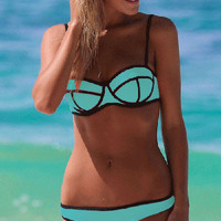 Light Blue Push Up Bikini with Black Trim Accent