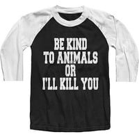 "Unisex ""Be Kind To Animals"" Baseball Raglan by The T-Shirt Whore (White/Black)"