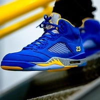 Air Jordan 5 Fashion Men Casual Sport Running Basketball Shoes Sneakers Sapphire Blue&Yellow