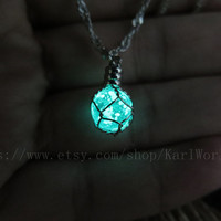 Green glowing Drop Necklace - Glass Ball Necklace - glow in dark Necklace - Tiny Necklace - Christmas Gift -Custom necklace-glow in the dark