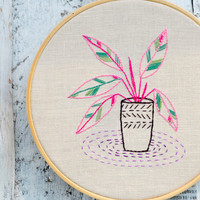 Hand embroidery patterns, Modern hand embroidery, houseplants embroidery, Botanical embroidery, calathea plants by NaiveNeedle