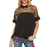 New Fashion T Shirt Woman  Embroidered Flower Lace Sheer Turn-down Tie Back Short Sleeve Tops Women Poleras De Mujer #416 GS
