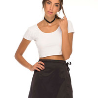 Wrap Skirt in Satin Black by Motel