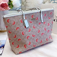 COACH New fashion pattern watermelon print leather shoulder bag handbag