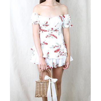 Without You Floral Off The Shoulder Ruffled Romper in White