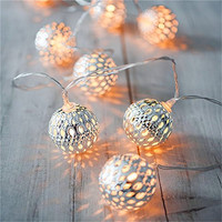 Silver Moroccan LED Globe String Lights for Indoor,Bedroom,Curtain,Patio,Lawn,Landscape