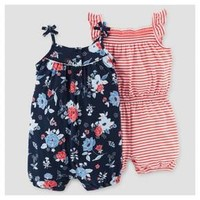 Baby Girls' Navy Floral and Red Stripe Romper 2-Pack – Just One You™ Made by Carter's®