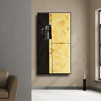 """SALE TRIPTYCH 84"""" Naples Yellow Grey Black White Brown Original Acrylic Abstract painting on Unstretched Canvas Total Framed Size 84x50"""""""