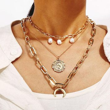 Fashion Multilayer Cross Gold Pendant Necklace Golden Plated Pendant Charms Necklace Jewelry