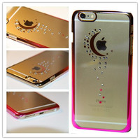 iPhone 6S Case, iPhone 6 Case, MGIFTSHOP Rhinestone Diamond Crystal Hard Plastic Plated Slim Case Cover Full Cover Protective Case for Apple iPhone 6S / iPhone 6 [Moon of Star Sky]