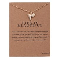 Bird Card Alloy Clavicle Pendant Necklace   171212