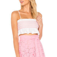 Lisa Marie Fernandez Selena Smocked Crop Top in White Cotton & Pink Smocking | REVOLVE