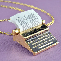 Vintage Style Gold Typewriter Necklace
