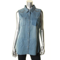 Two by Vince Camuto Womens Medium Wash Studded Button-Down Shirt