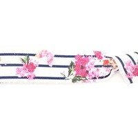 Blue and White Striped Floral hair tie - Emma Flhair
