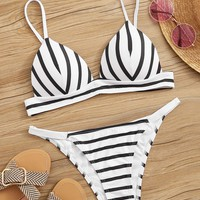 Striped Spaghetti Strap Top With Cheeky Bikini Set