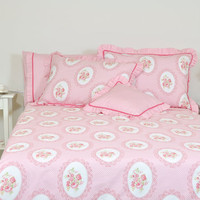 Pink Dorm Bedding in Twin Twin Xl Single - Floral, Victorian Rose Print Cotton - Ruffle, Shabby Chic Bedding - 4 pcs Duvet Cover & Sheet Set