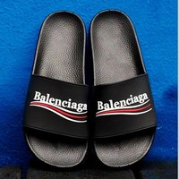 '' Balenciaga '' Casual Fashion Women Floral Print Sandal Slipper Shoes