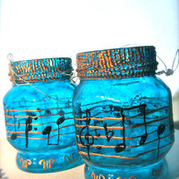 set of 2 jar lantern, notes design, gold ,blue , recycled glass