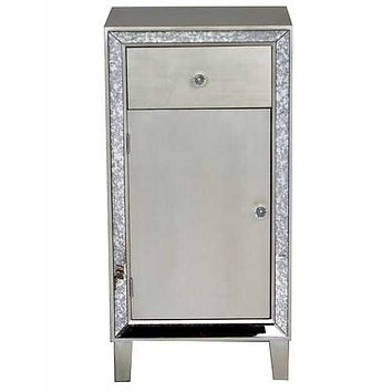 "Brown MDF, Wood, Mirrored Glass Accent Cabinet with a Drawer and Door 17'.7"" X 13"" X 35'.8"""