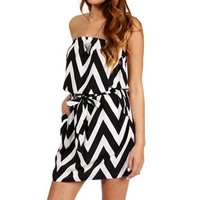 Pre-Order: Black/White Strapless Chevron Tunic