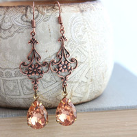 Peach Earrings, Vintage Glass, Copper Filigree, Fleur Long Dangle Earrings, Glam Chic, Old Hollywood, Lace, French Romantic, Shabby Chic