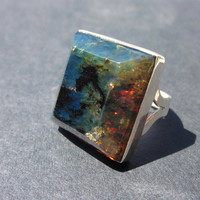 Blue Amber Jewelry, Unique Men's Ring, Amber Jewelry