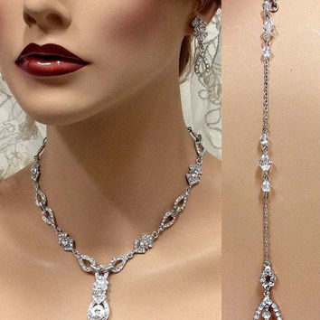 Bridal jewelry set, Bridal necklace, Wedding jewelry, vintage inspired backdrop necklace earrings, crystal necklace, bridesmaid jewelry set