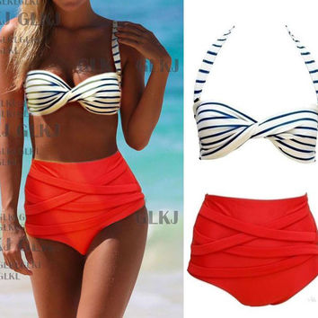STRIPE HIGH-WAISTED BIKINI