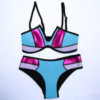 Fashion Multicolor Luster Stitching Neoprene Strap Bikini Swimwear Set Two-Piece